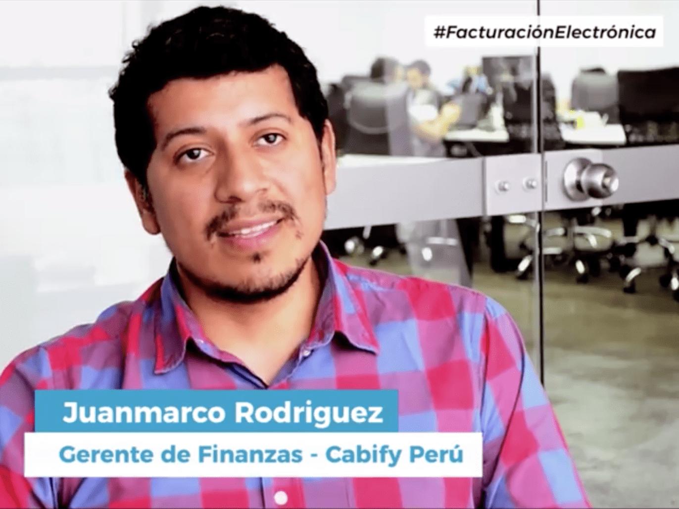 Juanmarco Rodriguez gerente de finanzas de Cabify, describe su experiencia de facturación electrónica con nuestra plataforma: tefacturo.pe